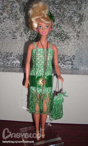 Платье для куклы из атласной ленты своими руками 99