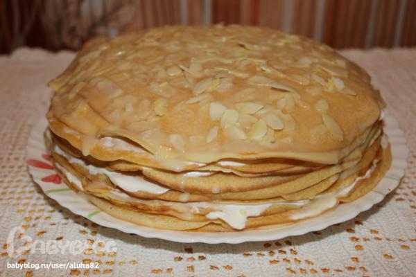 блинный торт со сгущенкой фото