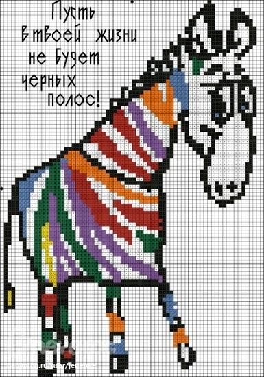Радужная зебра! Вышиваем?