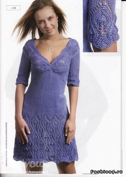Зимние вязаные платья спицами со схемой
