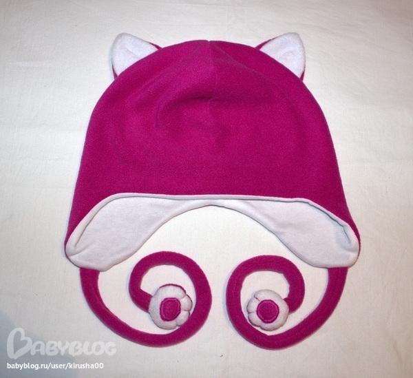 Своими руками шапка для девочки из флиса 79