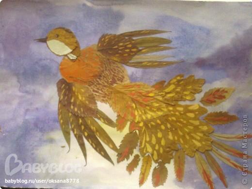 Поделки из листьев жар птица