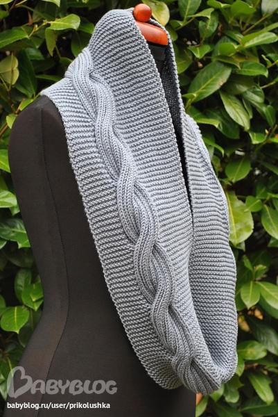 Как связать на спицах шарф-хомут