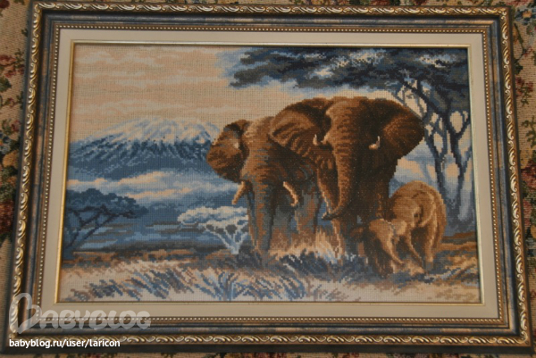 Вышивка слон в саванне