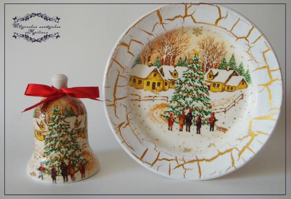 Декупаж тарелки к новому году мастер класс