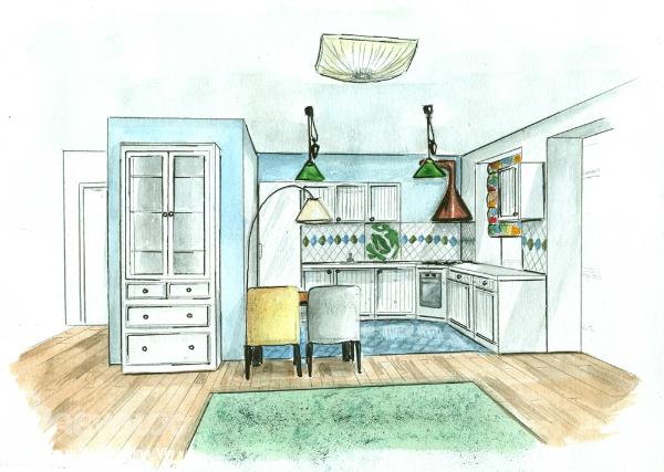Рисунок дизайна кухонь 32