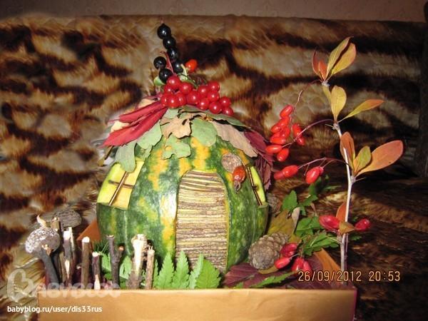 Природные поделки из декоративной тыквы