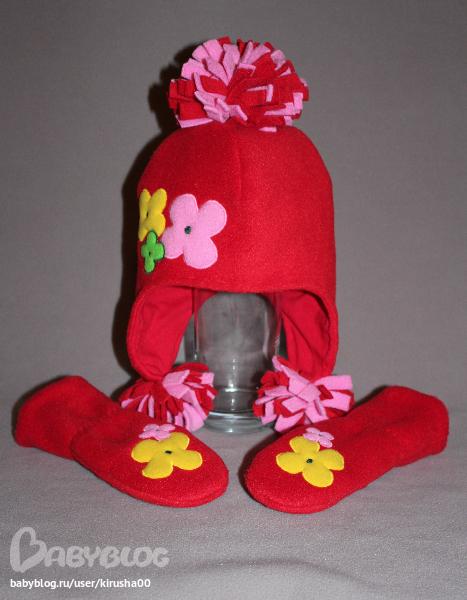 Своими руками шапка для девочки из флиса 24