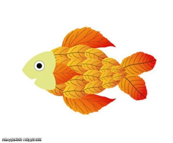 Поделки рыбка из листьев