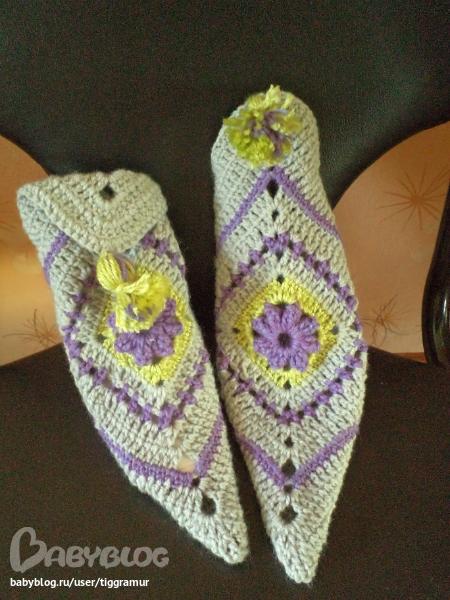 вязание крючком носки квадратами схема