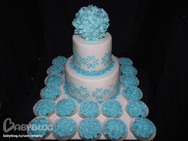 Свадебный бело голубой