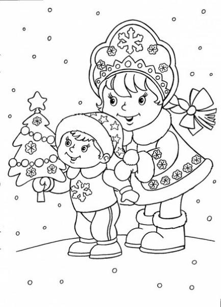 раскраски детские новогодние