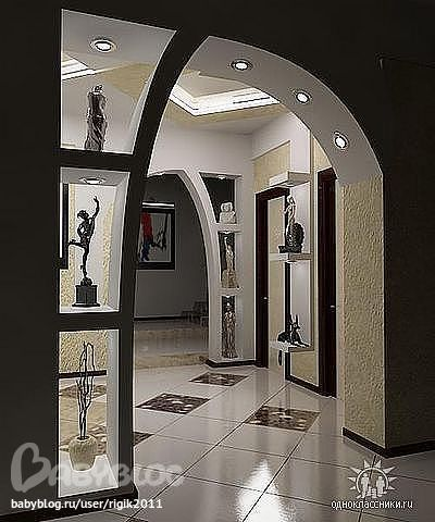Дизайн прихожей с аркой на