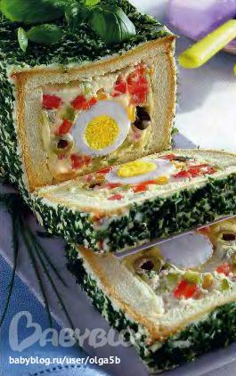 маринованных огурчика 2 помидора 3 яйца 100 г чёрных и зелёных маслин без...  Продукты: Хлеб (кирпичик) 100 г...