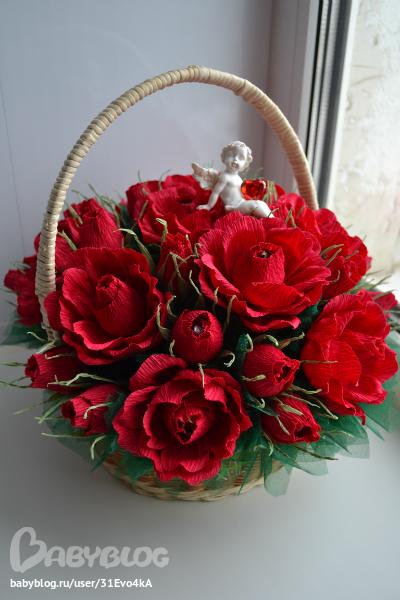 Корзина роз своими руками фото