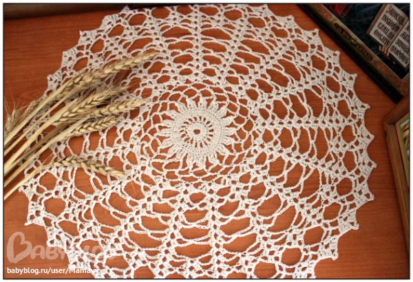 Вязание салфетка лилиями