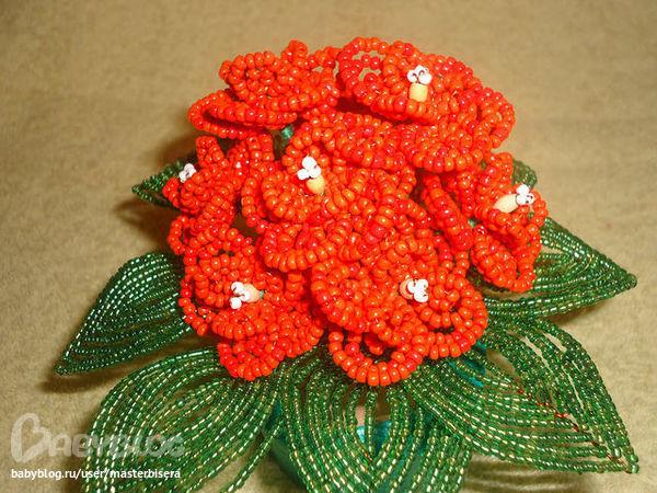 Я хотела вырастить дома красные фиалки, но домашний цветок не приживался.  И я решила сделать фиалки из бисера.
