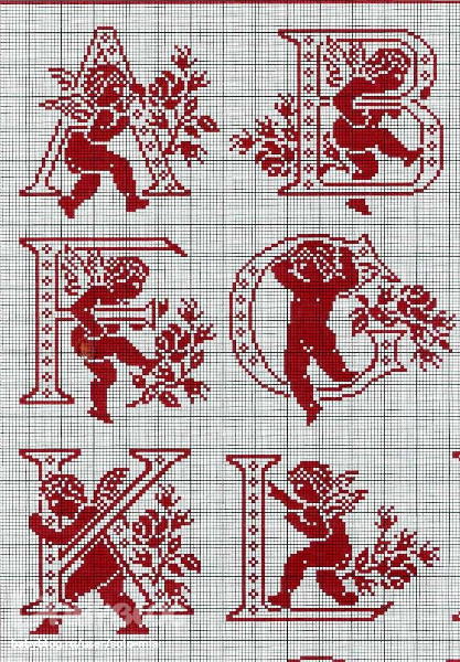 Монохромные схемы вышивки крестом латинского алфавита с цветами и ангелочками.  Данные схемы можно использовать не...