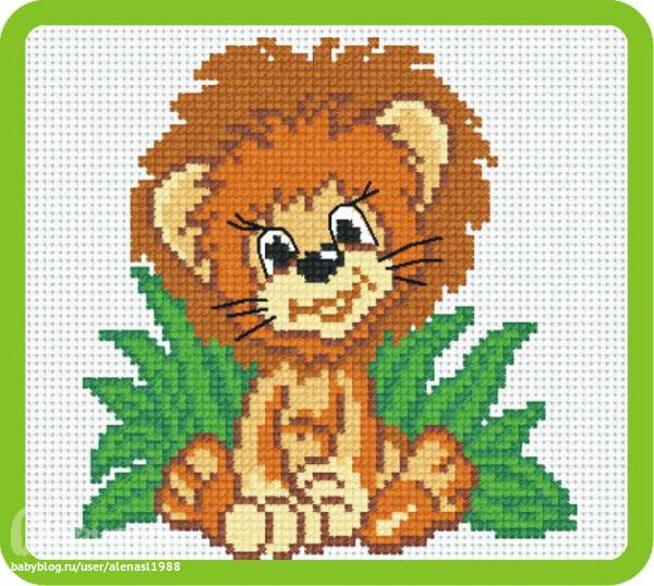 львенок схема вышивки крестом