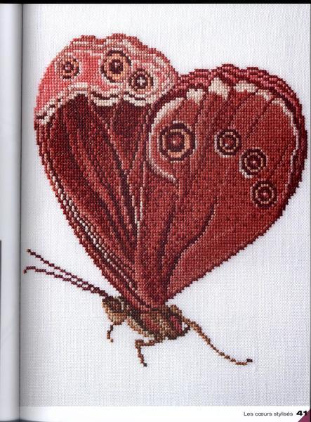Сердце из бабочек вышивка крестом 46