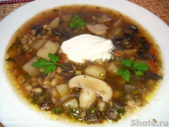 Рецепт суп из белых грибов с перловкой рецепт