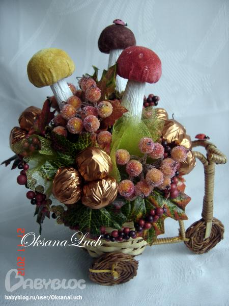 Осенние поделки из конфет 15