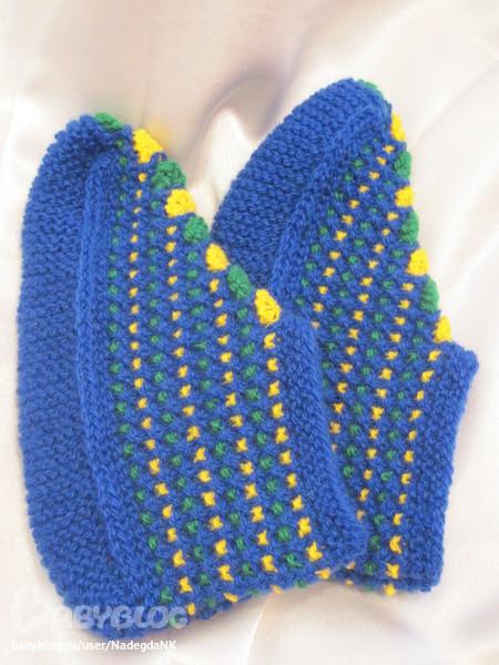 Вязание цветных тапочек спицами