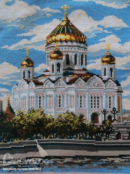 Церковь, Вышивка крестом, оформлена в багет г. Уфа, стекло антибликовое, багет, пластик, покрытие под золото...