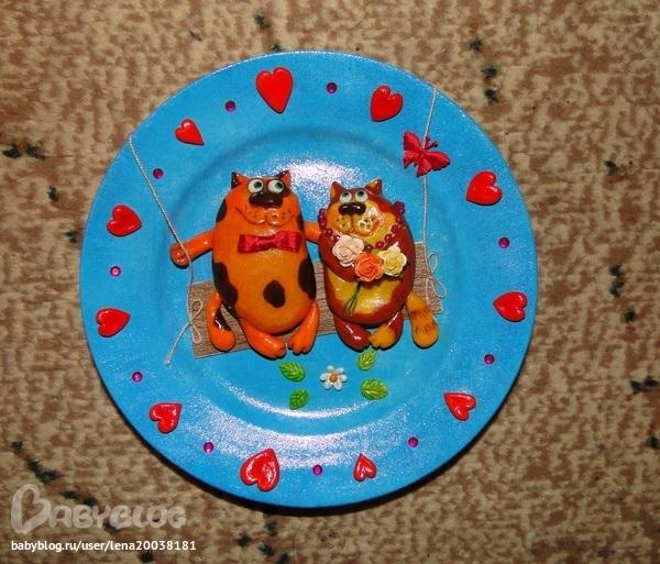 Поделки из пластилина на тарелки 13