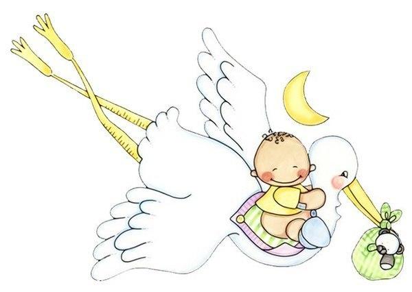 Открытка с новорожденной и аистом