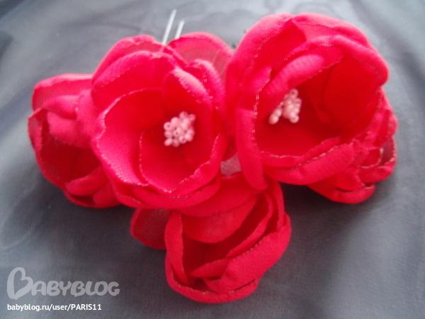 цветок из ткани на заколку своими руками