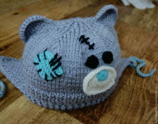 Вязание шапочки мишки спицами