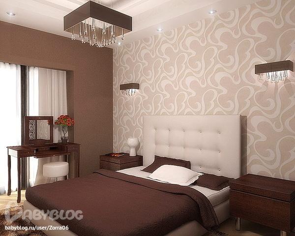 фото комбинированных обоев в спальне