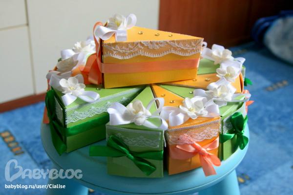 Бумажный торт с пожеланиями