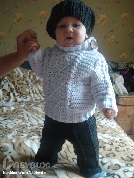 Вязание крючком свитера на мальчика 194