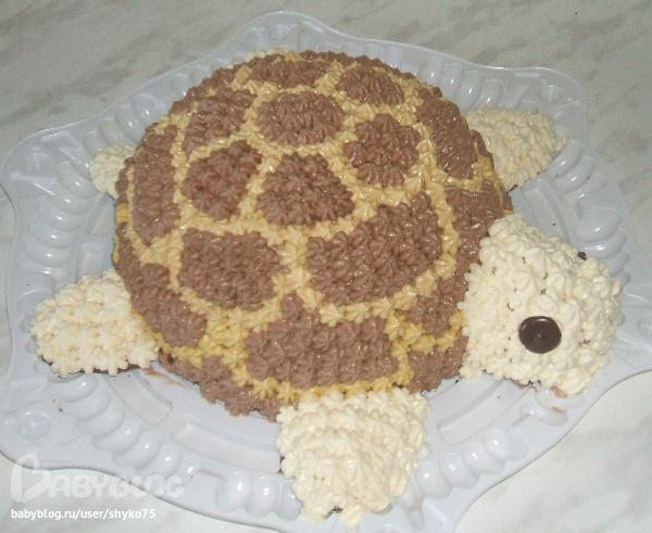 Черепаха торт кремом с фото