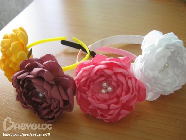 Как сделать цветы из ткани на ободок