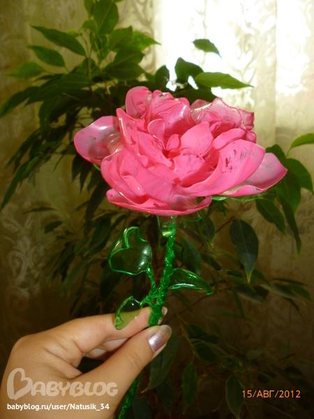 Роза из пластиковых бутылок своими руками мастер класс 24
