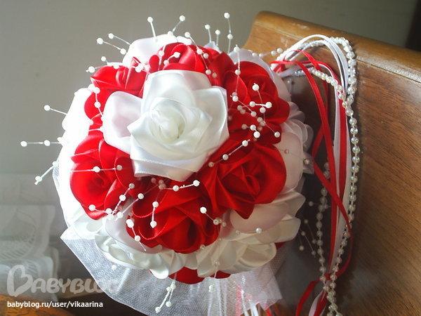 Свадебные букеты для невесты своими руками из атласных лент