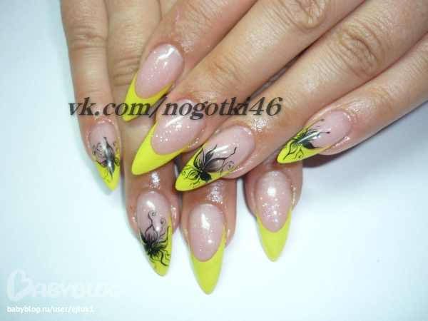Желтый френч на нарощенные ногти