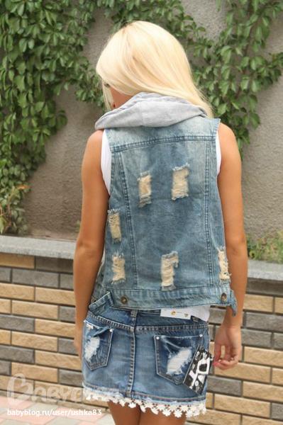 Короткая жилетка джинсовая своими руками 81