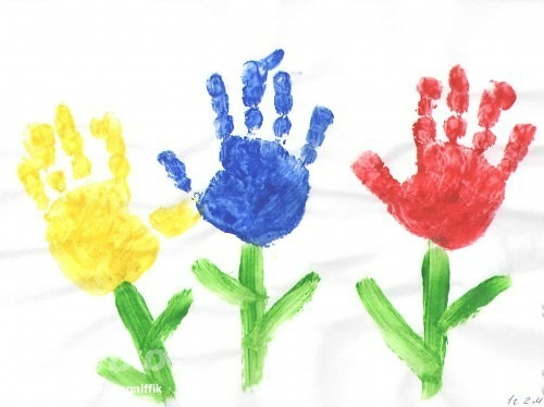 как сделать ладошки с цветами маме