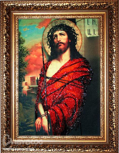 """""""Иисус в терновом венце """" Набор для частичной вышивки бисером  """"вприкреп """".  Размер вышивки 25 Х 35 см..."""
