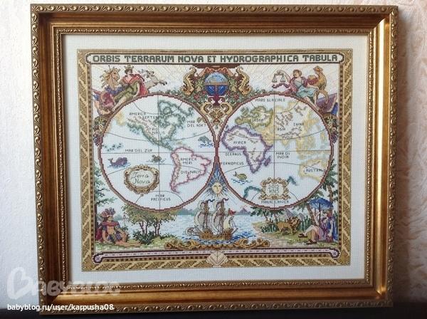 Старая карта мира Janlynn
