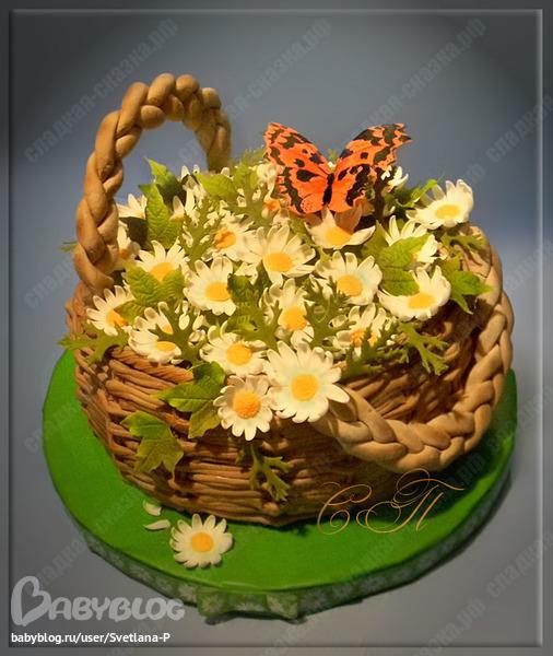 Корзина с ромашками торт фото